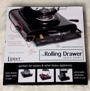 Lipper Rolling Drawer Space Saver Black & Silver
